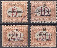 VENEZIA GIULIA, EMISSIONI GENERALI - 1919 - Lotto 4 Valori Usati Segnatasse Unificato 1/4. - 8. WW I Occupation