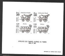"""Gravure """"Epreuves Des Timbres Journée Du Timbre 1986 Et 1987"""" - Malle-poste Briska - Berline - Documents De La Poste"""
