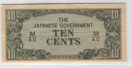 MALAYA Japanese Occupation 1942-1945 M3 10 Cents Used - Malaysia