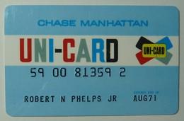 USA - Chase Manhattan - Uni-Card - Credit Card - Pre Visa - Expired Aug 71 - Signed - Used - Cartes De Crédit (expiration Min. 10 Ans)
