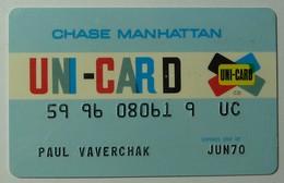 USA - Chase Manhattan - Uni-Card - Credit Card - Pre Visa - Expired June 70 - Signed - Used - Geldkarten (Ablauf Min. 10 Jahre)