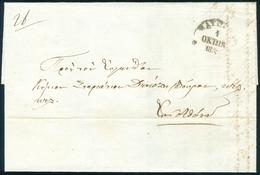 1852 Prephilatelic Cover Nayplio To Athens To Dekozi Vouros + Note WAX Cancel - ...-1861 Prephilately
