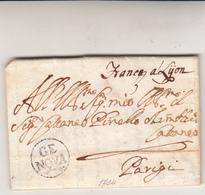 Prefilatelica, Genova Per Parigi. Lettera Con Contenuto, Franca A Lyon + Raro Timbro Di Genova Anno 1704 - Italie