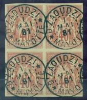MAYOTTE N°27 Sage CG 40 C T1 Bloc De 4 Ob. DJAOUDZI 1.MAI.1881 SUP ET RARE COTE 750 € - Used Stamps