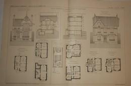Plan De Villas Suburbaines à Vaucresson En Seine Et Oise Et à Sceaux Dans La Seine. M. G. Reige, Architecte. 1910. - Public Works