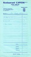 Ancienne Facture Du Restaurant Campion, Millau (24/8/1972) - Sports & Tourisme