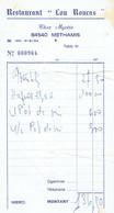 Ancienne Facture Du Restaurant Lou Roucas, Chez Myette, 84540 Methamis (vers 1975) - Sports & Tourisme