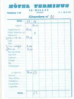 Ancienne Facture De L'Hôtel Terminus, Millau (vers 1975) - Sports & Tourisme