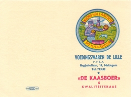 Kalender Calendrier 1962 - Pub Reclame De Kaasboer - Voeding De Lille - Maldegem - Calendriers