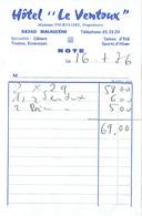 Ancienne Facture De L'Hôtel Le Ventoux, Mme Tourniaire, Malaucène (16/7/1976) - Sports & Tourisme