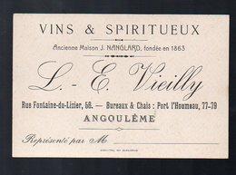 Angoulème (16 Charente) Carte VIEILLY Vins Et Spiritueux (PPP12783) - Advertising