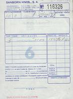 Ancienne Facture Du Magasin Sanborn Hnos S.A., Mexico (Mexique) (20/07/1974) - Autres