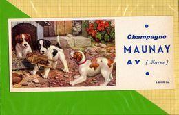 Lot De 3  BUVARDS Differents  & Blotting Paper  : Champagne MAUNAY AY  : Saut De Haie ,Le Souk ; Chiens Joueurs - Liquor & Beer
