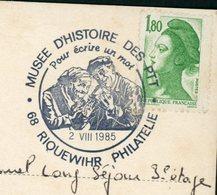 """FRANCE :  LIBERTÉ 1,60 VERT OBLITÉRÉ CACHET TEMP. """"MUSÉE D'HISTOIRE DES PTT 68 RIQUEWHIR DU 2/8/1985"""" - Marcophilie (Lettres)"""