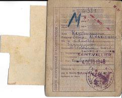 CARTE DOCUMENT ADMINISTRATIF  CARTE INDIVIDUELLE D'ALIMENTATION 1946 SAINT VALLIER 71 SAÔNE ET LOIRE AVEC COUPONS - Maps