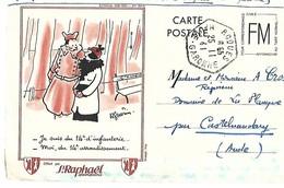 1941 CARTE POSTALE FM DESSIN ILLUSTRATEUR GUERIN PUBLICITE ST RAPHAEL QUINQUINA CPA Format Cpm 2 SCANS - Publicité