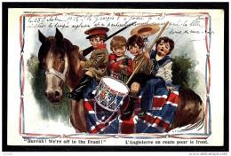 CPA ANCIENNE FRANCE- CHEVAUX- MILITARIA PATRIOTIQUE ANGLAISE- EN ROUTE POUR LE FRONT ! CHEVAL - Chevaux