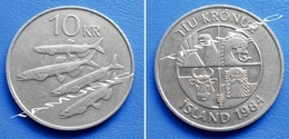 ICELAND ISLAND 10 Kronur 1984 - FISH FOUR CAPELINS And FOUR NATIONAL ICONS - Iceland