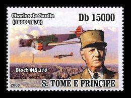 Sao Tome Charles De Gaulle France Germany Plane Aviation 1v Stamp Michel:3514 - Non Classificati