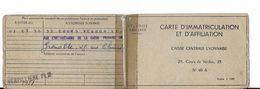 CARTE DOCUMENT ADMINISTRATIF  CARTE D'IMMATRICULATION  ET AFFILIATION CAISSE CENTRALE LYON 19551 - Maps