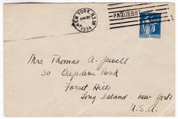 M273 France Lettre Maritime 1934 French Line PAQUEBOT NEW YORK 18 - Postmark Collection (Covers)