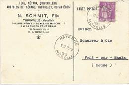 MOSELLE CARTE POSTALE COMMERCIALE PUBLICITAIRE 1933 AVEC CACHET HOROPLAN DE HAYANGE - Elsass-Lothringen