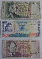 3 Billet De Banque De Mauritius 20 / 25 / 200 Rupees. - Mauritius