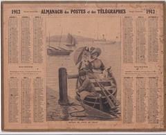 Almanach Des Postes Et Telegraphes 1912 Elegantes Retour De Visite Au Yacht Illustré Signé Chien Canot Enfant - Big : 1921-40