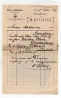 """Austria - Villach - Fattura Della Ditta """" M. Pufitsch """"  Con Ricevuta Di Impostazione Datata  1/9/1899 - (FDC9976) - Austria"""