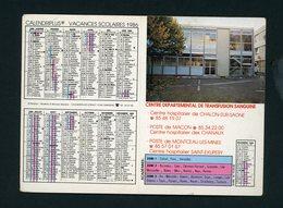 CALENDRIER PETIT FORMAT 2 VOLETS 1986 DISTRIBUÉ PAR CENTRE DÉPARTEMENTAL DE TRANSFUSION SANGUINE - Calendriers