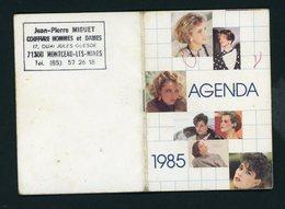 CALENDRIER AGENDA PETIT FORMAT 10 VOLETS 1985 DISTRIBUÉ PAR COIFFURE J.-P. MIGUET À MONTCEAU LES MINES - Calendriers