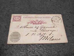 RARE ITALY PRIVATE  STATIONERY CARD MODENA TO MILAN 1880 - 1878-00 Umberto I