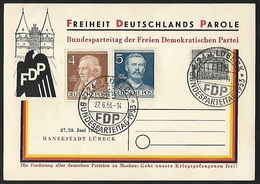 1953 - BERLIN - Card + Michel 42+91/92 [FDP] + LÜBECK - [5] Berlin
