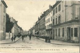 Cp Souvenir De LUNEVILLE 54 - 1926 - Rues Carnot Et De La Gare - N° 7 Edit. Simon Et Huck - Luneville
