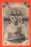 Navi Corazzata Roma Cpa X Il Varo 1907 Coppia Dei Reali Su Aquila Sabauda Navir Ships - Guerra