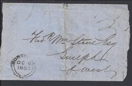 CANADA - Lettre De Montréal Pour Guelph - Cachets Des 6 Et 10 Octobre 1855 - - 1851-1902 Regno Di Victoria