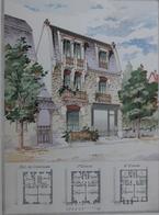 PLANCE ARCHITECTURE L'HABITATION PRATIQUE 38.5X31.5 CM -  PHARMACIE A LA BAULE    ==  2 SCANS - Architecture