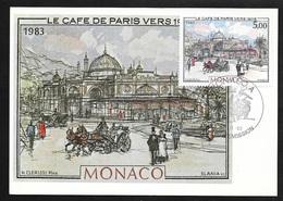 Carte Postale Maximum Premier Jour Monaco  Le 19 Novembre 1983 N°1386  Café De Paris Vers 1905 Cachet Illustré   TB - Monuments