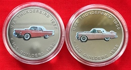 "Suriname Set Of 2 Coins: 100 Guilders 1996 ""USA Thunderbird 1956, 1957"" UNC - Suriname 1975 - ..."