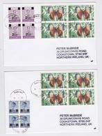 Thailand Air Mail Cover Butterfly Block Stamp - Enveloppe Thaïlande Timbre Bloc Papillon - Lot Of 2 Letters - Papillons