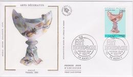 FDC EN SOIE  - Enveloppe 1 ER JOUR  - ARTS DECORATIFS - GALLÉ  VERRERIE   - ART NOUVEAU NANCY - 1990-1999