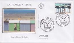 FDC EN SOIE  - Enveloppe 1 ER JOUR - LES CABINES DE BAINS - PORTRAITS DE RÉGIONS - LE TOUQUET PARIS PLAGE - FDC