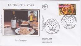 FDC EN SOIE  - Enveloppe 1 ER JOUR - LE CASSOULET  - LA FRANCE A VIVRE  -CASTELNAUDARY  11 - FDC