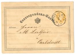 Austria Postal Stationery Postcard Correspondenz-Karte Travelled 1872 Wien To Carlstadt B180525 - Interi Postali