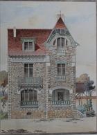 PLANCE ARCHITECTURE L'HABITATION PRATIQUE 38.5X31.5 CM - VILLA A SAINT GERMAIN EN LAYE    ==  2 SCANS - Architecture