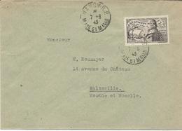 LETTRE 1943 AVEC TIMBRE A SURTAXE 1 FR 50 + 8 FR 50 JEAN DE VIENNE - Poststempel (Briefe)