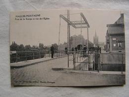 Cpa  59 Nord Maulde Mortagne Pont De La Scarpe Et Rue De L'eglise Animée  Ed Marquaille Coiffeur 198 - France