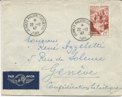 LETTRE PAR AVION 1947 POUR LA SUISSE  AVEC TIMBRE A 15 FR CONQUES - Storia Postale