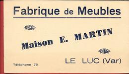 Buvard Ancien  Fabrique De MEUBLES - Maison E. MARTIN - LE LUC (Var) - Buvards, Protège-cahiers Illustrés
