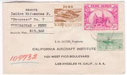 M275 Peru Lettre 1957 Yurimaguas To Los Angeles Mi 528 Inka-Fortress At Paramonga - Peru